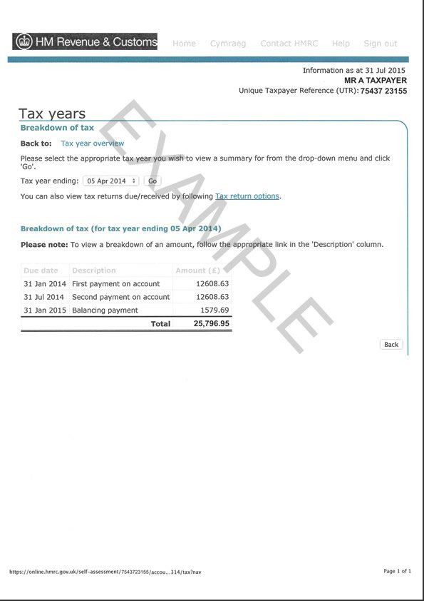 HMRC Tax Overview Example page 2