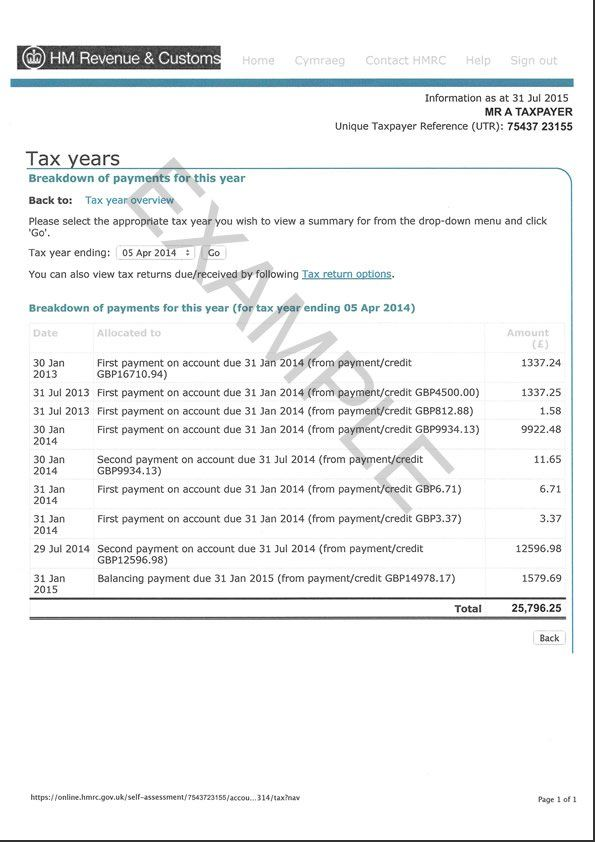 HMRC Tax Overview Example page 1