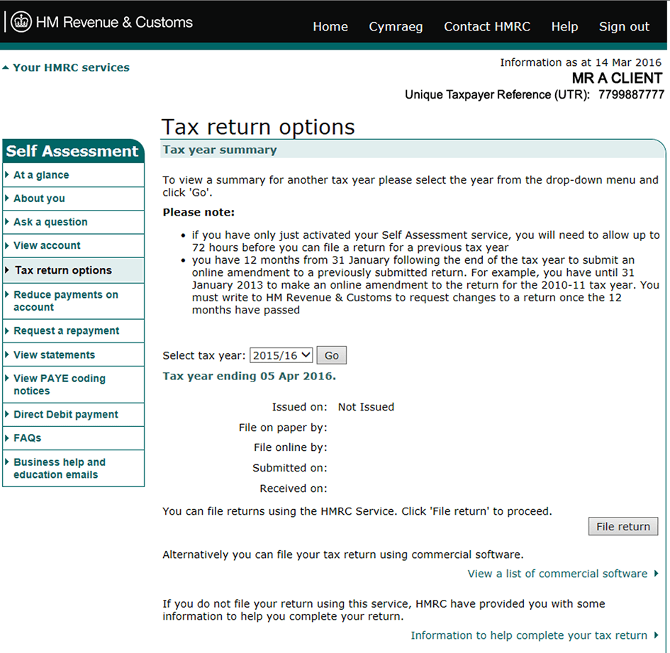 2016 Supplementary Tax Return Instructions