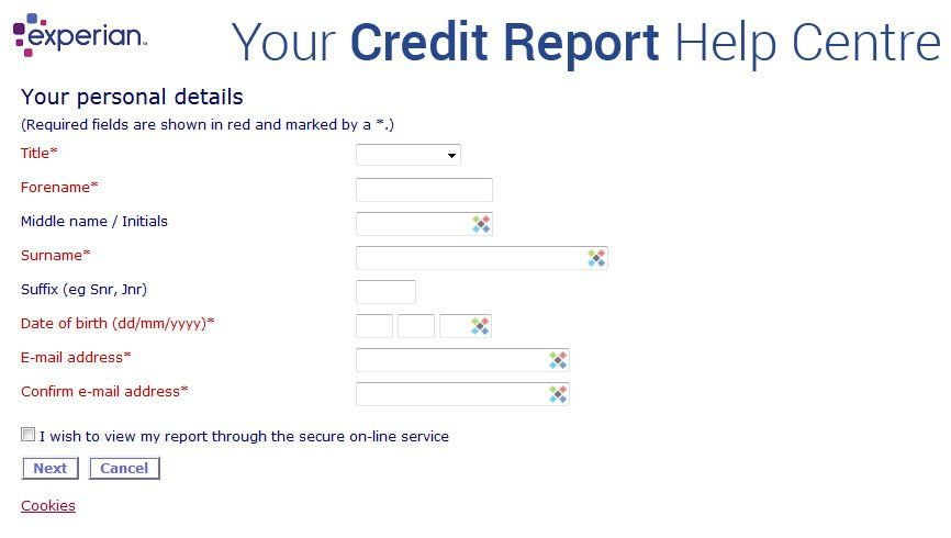 Experian Statutory Credit Report Order Form