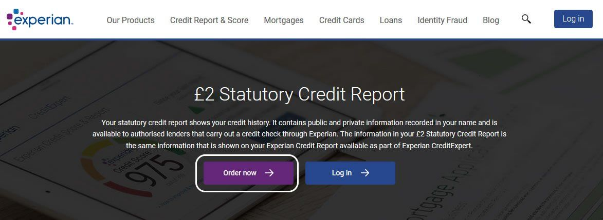 Experian Statutory Credit Report Order Button