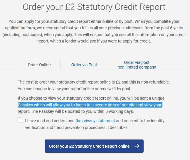 Experian Statutory Credit Report Terms