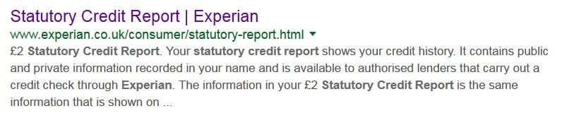 Experian Statuatory Credit Report SER